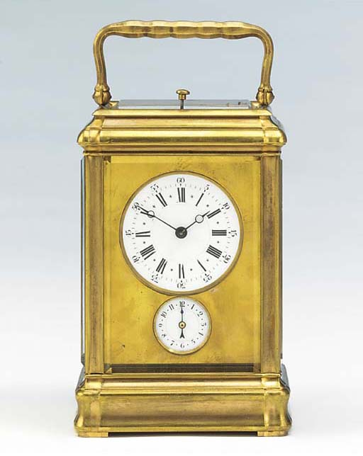 A French brass grande sonnerie carriage clock with alarm, circa 1880