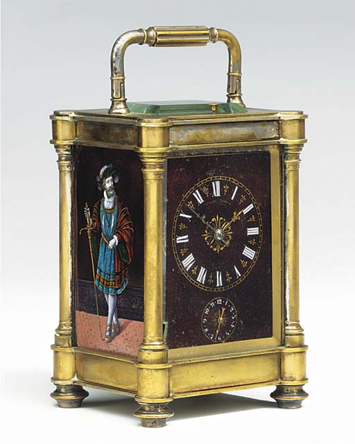 A French brass and Limoges enamel mounted striking and repeating carriage clock with alarm, circa 1890