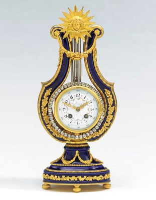 A French blue enamel and gilt-