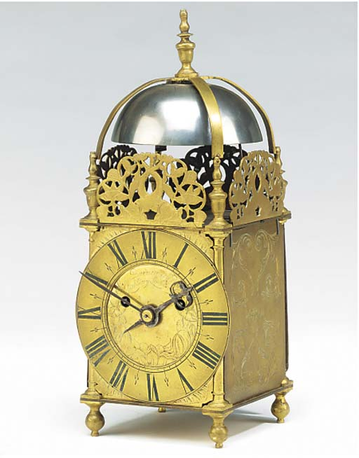 A brass striking lantern clock