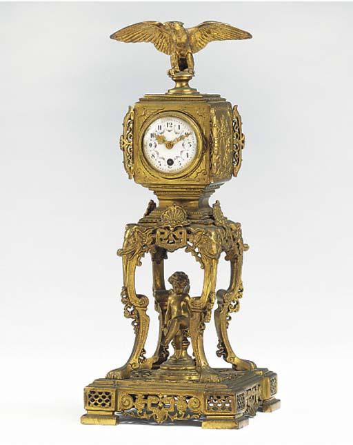 A French gilt-metal desk timep
