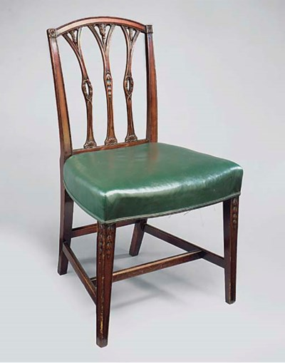 A SET OF FOUR MAHOGANY AND GRE