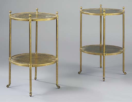 A PAIR OF BRASS AND GREEN LEAT