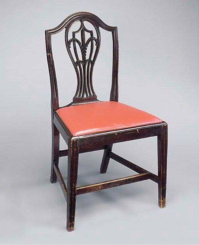 A SET OF SIX MAHOGANY AND RED