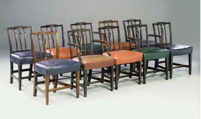 A SET OF TEN MAHOGANY AND LEAT