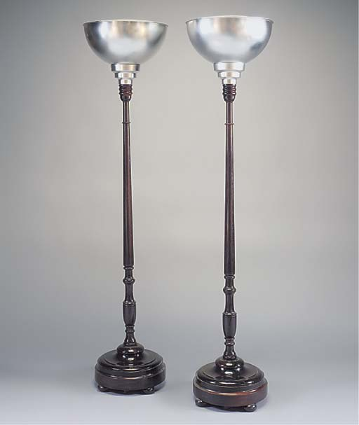 A PAIR OF MAHOGANY AND CHROME