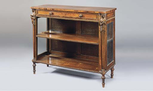 A ROSEWOOD OPEN SIDE CABINET