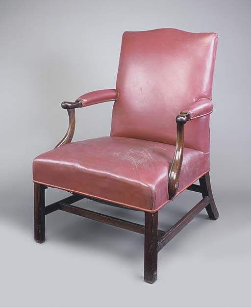 A MAHOGANY AND RED LEATHER-UPH