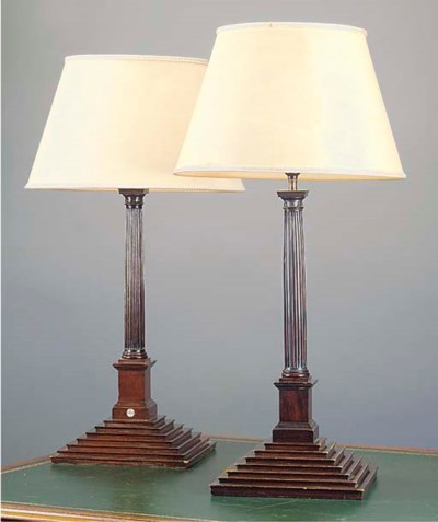 A PAIR OF MAHOGANY TABLE LAMPS