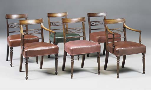 A SET OF SIX MAHOGANY AND LEAT
