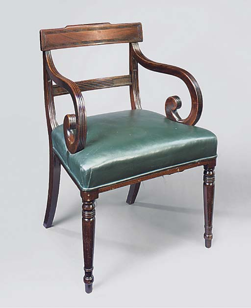 A REGENCY MAHOGANY AND GREEN L