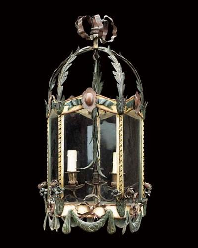 A tole-peinte hall lantern