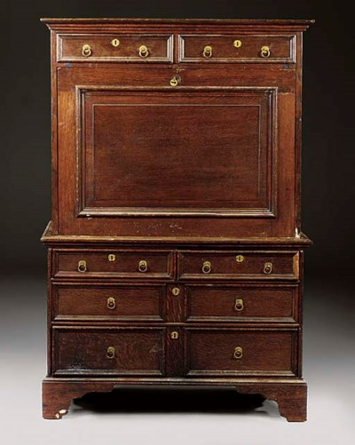 An English oak secretaire