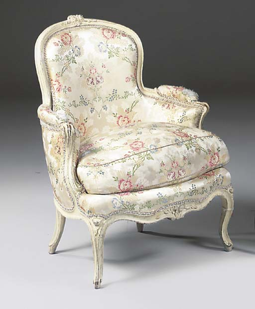A LOUIS XV WHITE PAINTED AND F