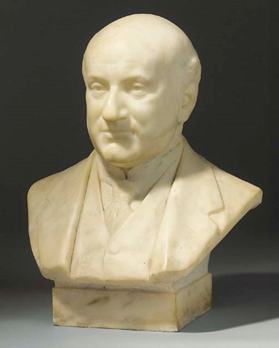 A carved white marble bust of