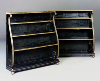 A pair of gilt and ebonised bo