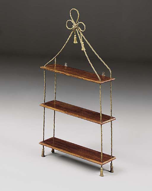 A ROSEWOOD AND BRASS HANGING S