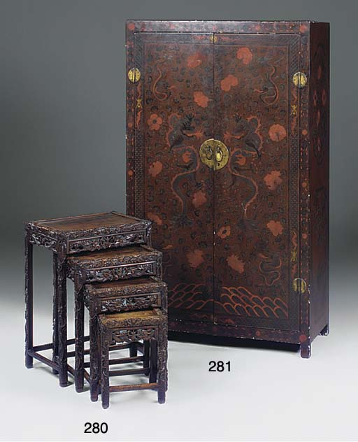 A Chinese lacquered cabinet