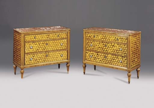 A pair of Italian yewwood, walnut and satinwood parquetry commodes