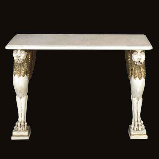 A white and gilt painted console table
