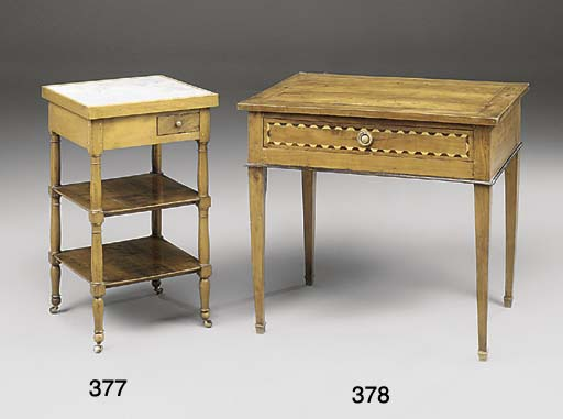 A FRENCH WALNUT AND BEECH THRE