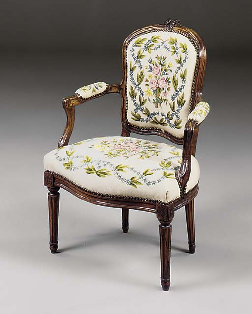A FRENCH WALNUT AND NEEDLEWORK