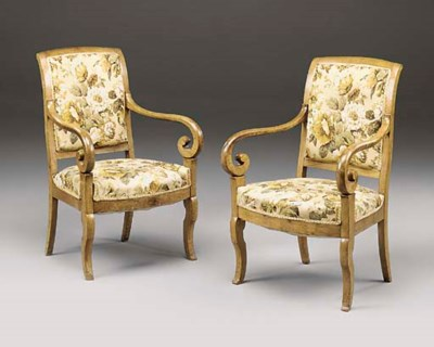 A PAIR OF FRENCH FRUITWOOD FAU