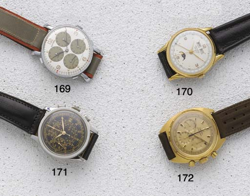 Omega: A gold chronograph wris
