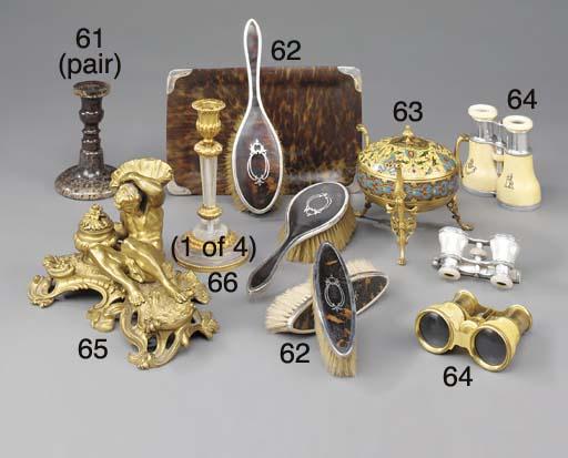 A set of four gilt metal and r