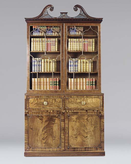 A mahogany and inlaid secretai