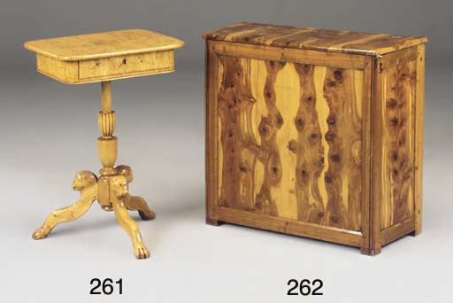 A FRENCH OLIVEWOOD AND WALNUT