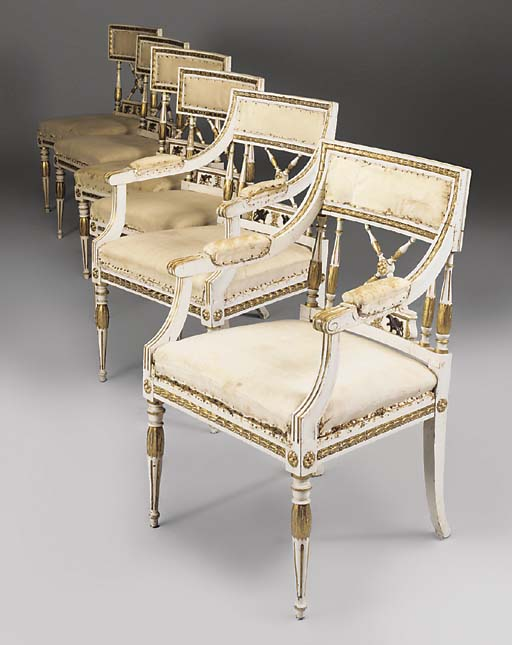 A SET OF SIX SWEDISH GILT AND