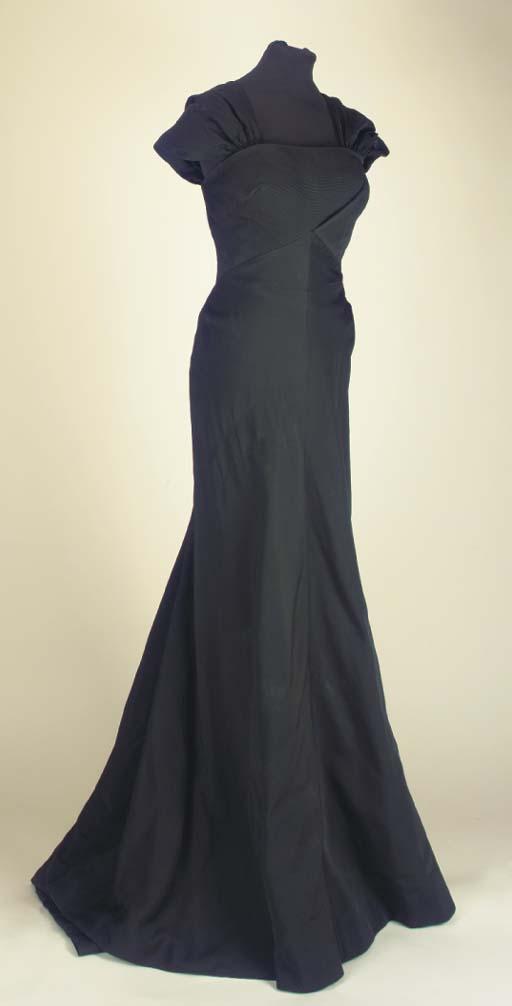 A full-length evening dress of