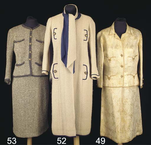 A lady's two-piece suit of cre