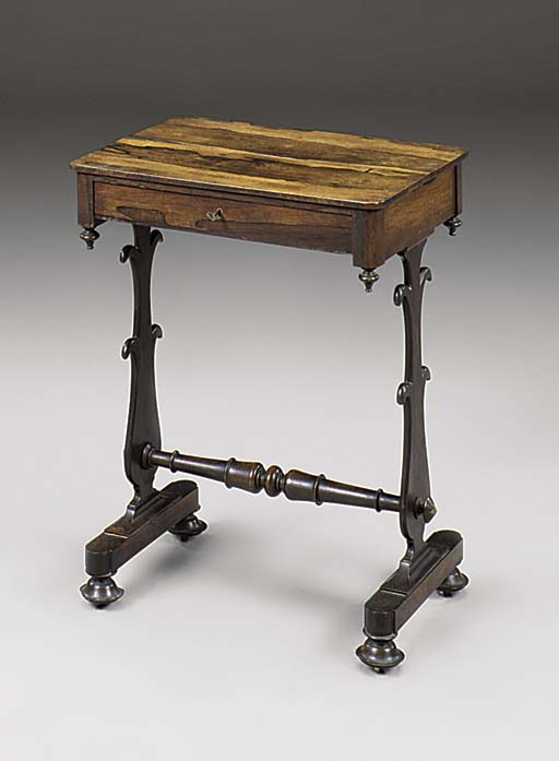 A ROSEWOOD WORK TABLE