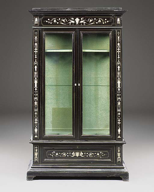 AN ITALIAN EBONISED AND INLAID