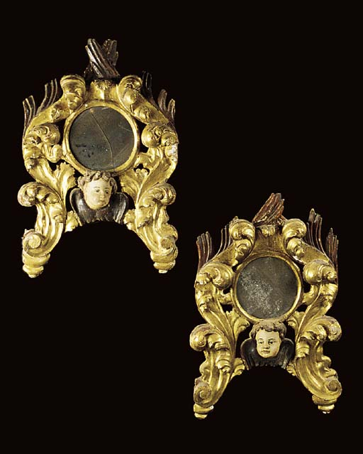 A PAIR OF SPANISH GILTWOOD AND