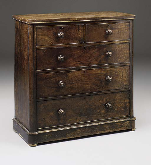 A VICTORIAN WALNUT CHEST OF DR