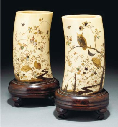 A pair of Japanese ivory tusk