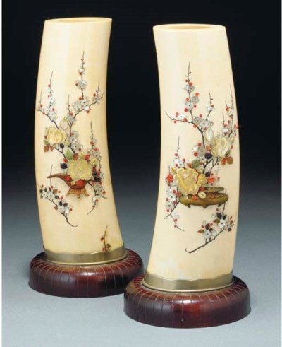 A pair of Japanese shibayama s