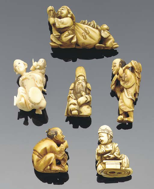 A group of six Japanese ivory
