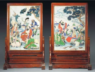 Two Chinese painted marble pan