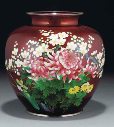 A Japanese cloisonne vase, lat
