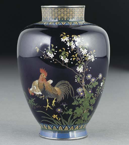 A small Japanese cloisonne vas