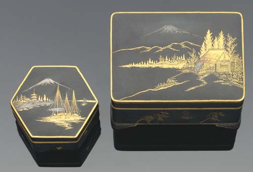 Two small Komai-style boxes an