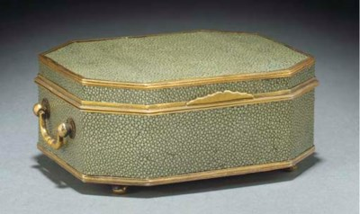 A silver gilt and shagreen cas