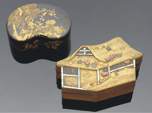 A Japanese lacquer inlaid box