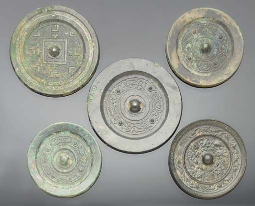 A group of five Chinese mirror