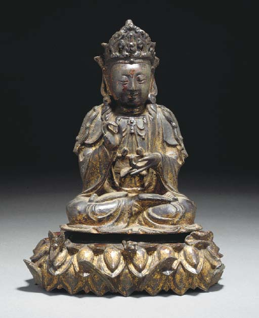 A Chinese lacquered and gilt b