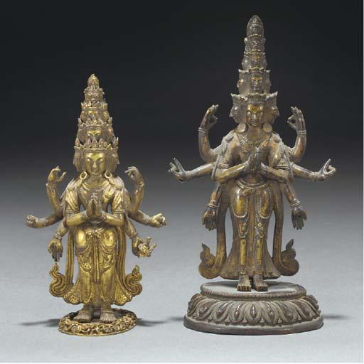 Two sino-Tibetan gilt bronze m